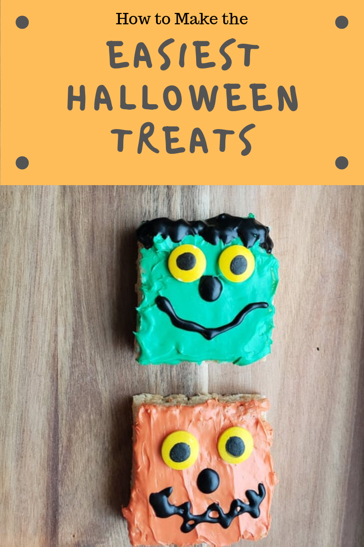 easiest halloween treats on wood frame with text